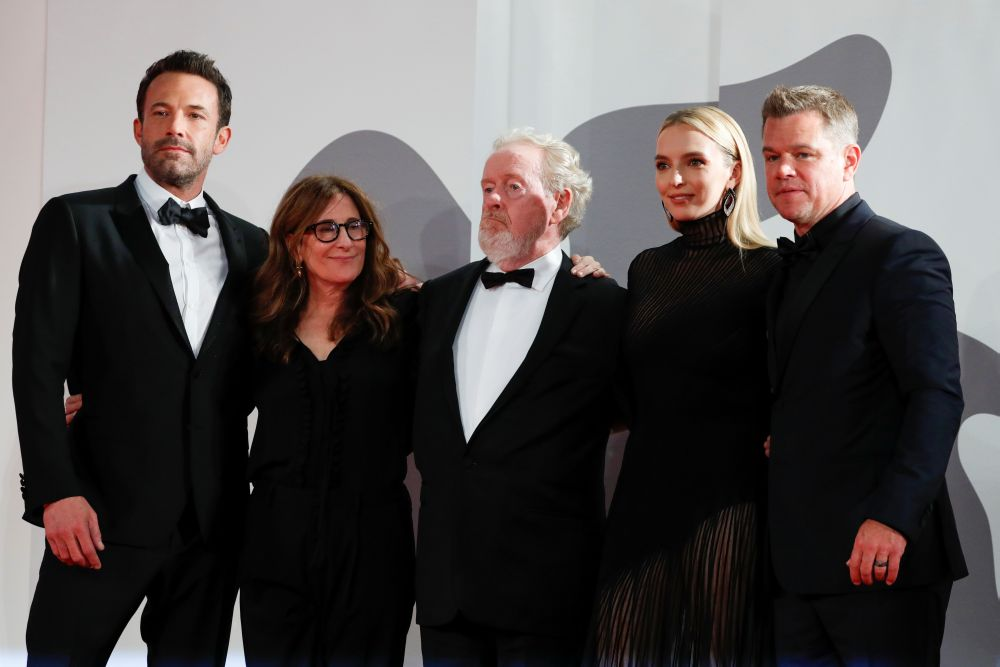 The cast of 'The Last Duel' and director Ridley Scott Attend the premiere screening for the film in Venice September 10, 2021. — Reuters pic
