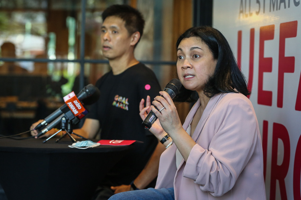 Astro Commercial Director Azlin Arshad speaks during a press conference at the launch of the Astro Kick-Off Campaign for UEFA Euro 2020 at Sunway Pyramid April 1, 2021. ― Picture by Yusof Mat Isa