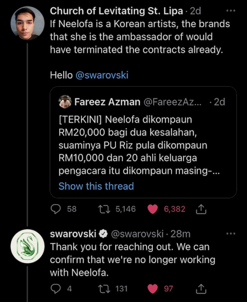 A screenshot of Swarovski's reply to a Twitter user asking the brand to boycott the Malaysian celebrity. — Photo from Twitter/@pineabul