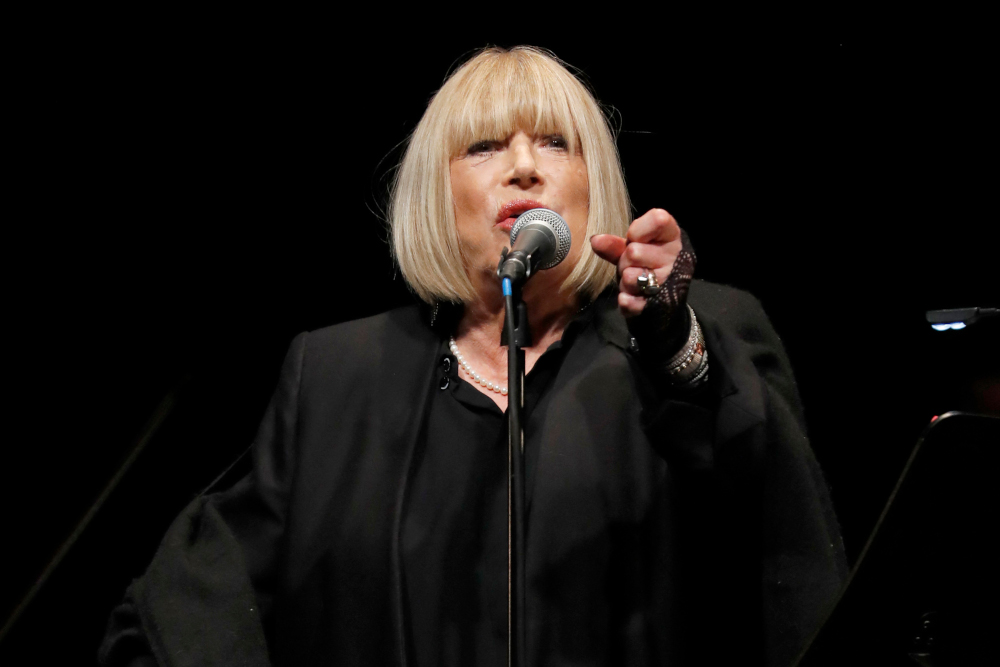 In this file photo taken November 25, 2016 British singer Marianne Faithfull performs at the Bataclan concert hall in Paris. — AFP pic