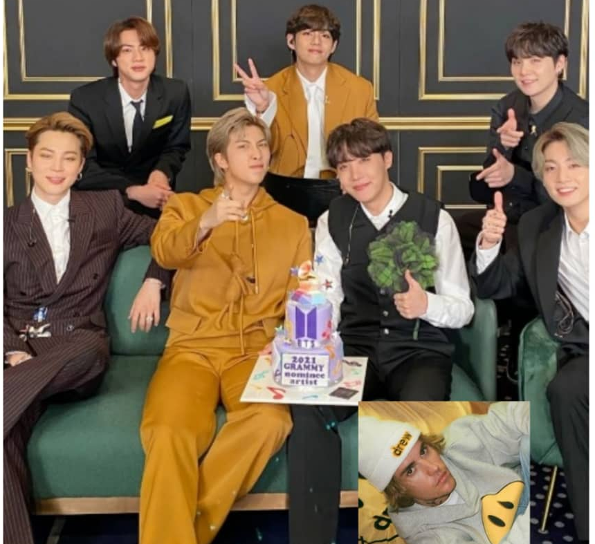 Pop icons BTS and Justin Bieber (inset) will be collaborating on a new single following a merger of their recording companies. — Picture via Facebook
