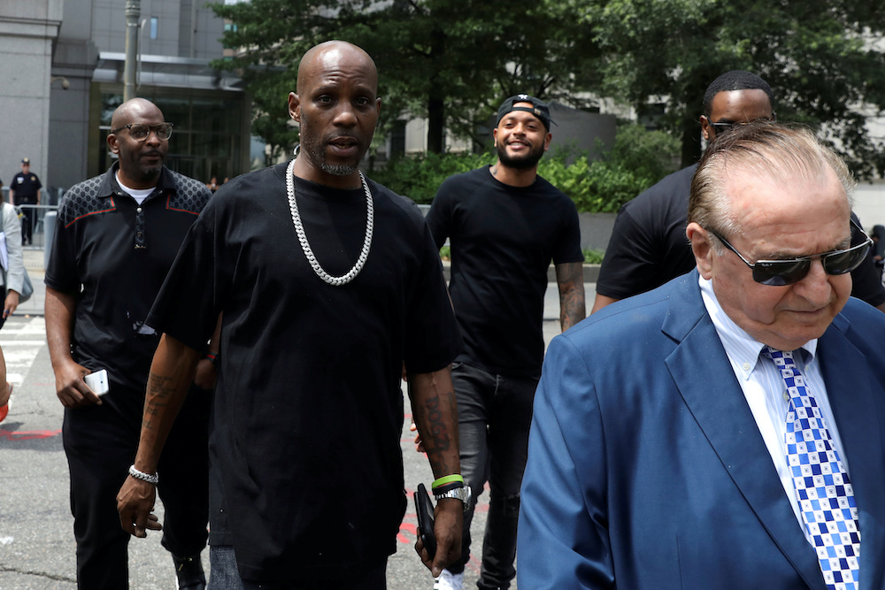 File photo of Earl Simmons (centre), also known as the rapper DMX, at the US Federal Court in Manhattan following a hearing regarding income tax evasion charges in New York City, US, July 17, 2017. — Reuters pic