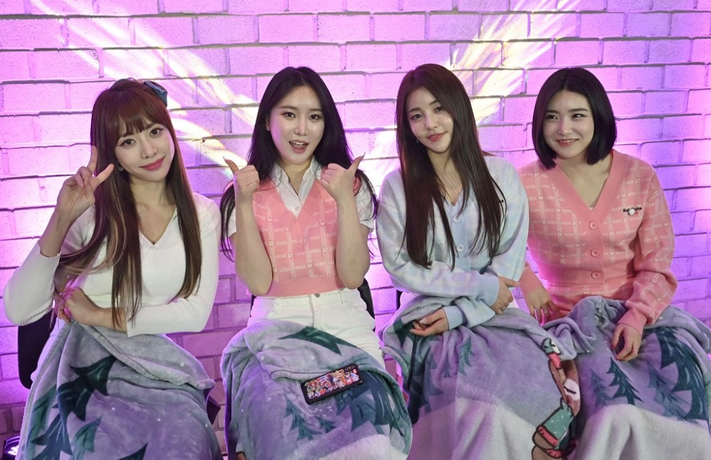 This picture taken on March 27, 2021 shows K-pop group Brave Girls members (left to right) Hong Eun-ji, Kim Min-young, Nam Yu-jeong and Lee Yu-na posing during an interview with AFP after a commercial event at a studio in Gwacheon, south of Seoul. ― AFP pic