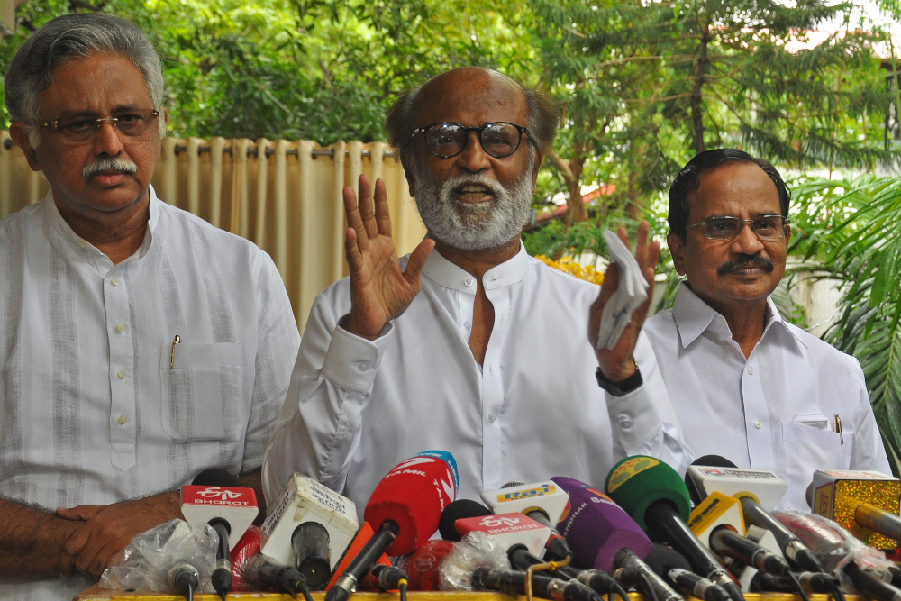 The 70-year-old Tamil movie superstar announced his decision not to join politics after meeting members of his forum called Rajini Makkal Mandram (RMM) today. — AFP pic
