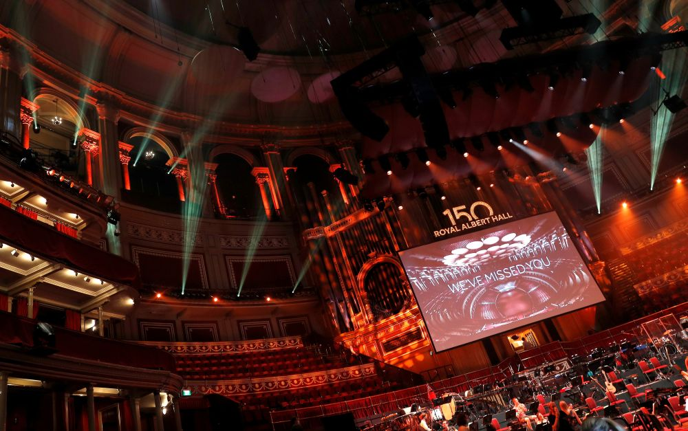 A technical rehearsal takes place before the 150th Anniversary Concert: David Arnold's 'A circle of sound', at the Royal Albert Hall in London, July 19, 2021. — Reuters pic